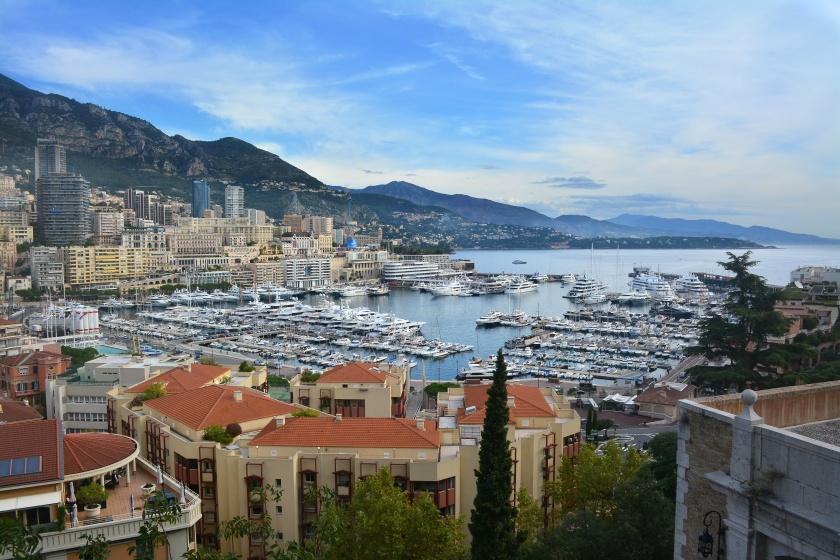 Monaco Harbour and Monte Carlo from the steps of Monaco Ville
