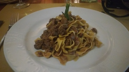 Flat pasta with Boar meat sauce