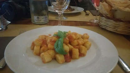 Gnocchi with tomato and cheese sauce